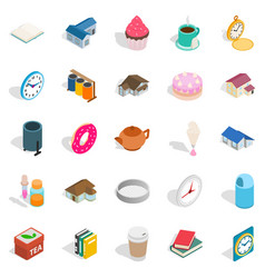 Ranch icons set isometric style vector