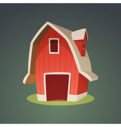 Red farm barn icon vector