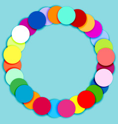 Round frame made of multicolor circles vector