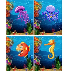 Sea animals swimming under the sea vector image