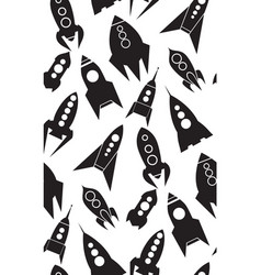 Seamless pattern with spacecraft silhouettes of vector