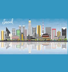 Seoul korea skyline with color buildings blue sky vector