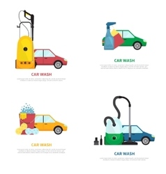Set of labels on car wash theme in flat style vector image