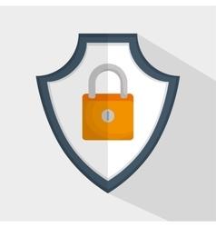 Shield padlock secure data icon vector