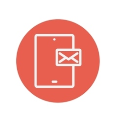 Smartphone message thin line icon vector