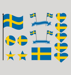 sweden flag set collection of symbols heart vector image