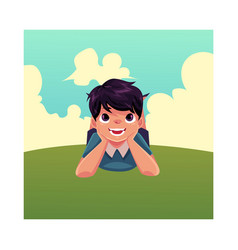 Teenage boy with black hair lying on grass summer vector