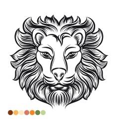 Wild lion coloring page vector