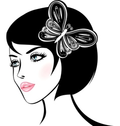 Beauty woman portrait design element vector