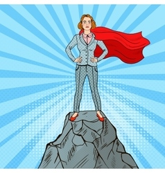 Pop art business woman on the mountain peak vector