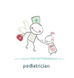 Pediatrician flies to a sick child vector