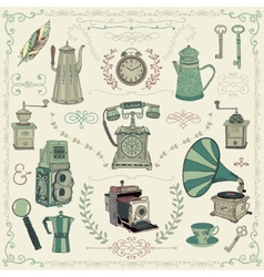 Vintage colorful icons objects and design vector