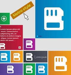 Compact memory card icon sign metro style buttons vector