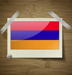 Flags armenia at frame on wooden texture vector
