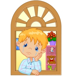 Cartoon little boy cry and watching out the window vector