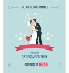 Wedding invitation with cartoon bride groom vector