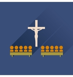 Flat icon with long shadow people in church vector