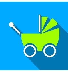 Baby carriage flat long shadow square icon vector