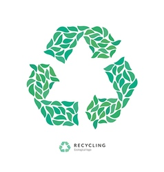 Beautiful recycle symbol logo icon made up of vector