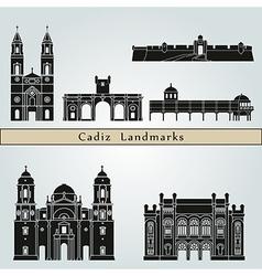Cadiz landmarks and monuments vector image