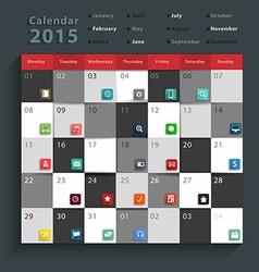 Calendar 2015 modern business flat icons set vector
