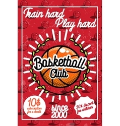 Color vintage basketball poster vector image vector image