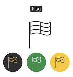 competition sport flag line icon vector image vector image