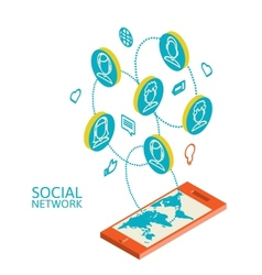 Conceptual image with social networks Flat vector image vector image