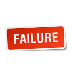 Failure square sticker on white vector