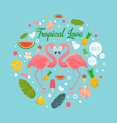 flamingo couple in summer tropical love vector image vector image