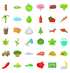 Forest camping icons set cartoon style vector