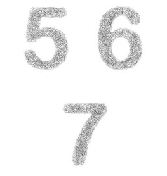 Furry sketch font set - numbers 5 6 7 vector