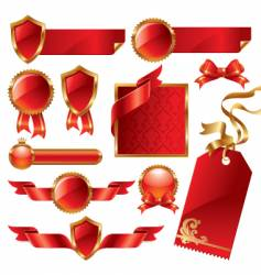 Golden red signs and labels vector