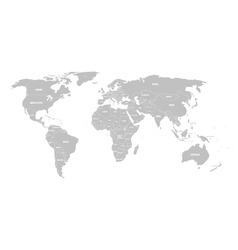Grey political world map with country borders and vector