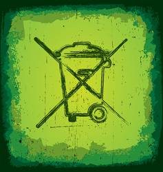 grunge recycle icon vector image vector image