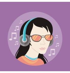 Handsome young man in headphones vector image