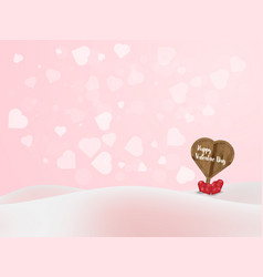 heart shape wood label board with heart bubble vector image vector image