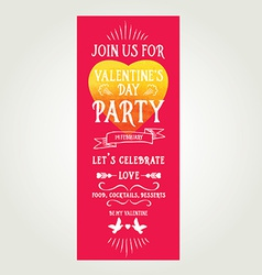 Invitation Valentines Day Typography Love poster vector image vector image