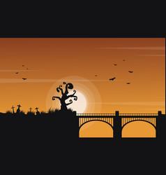 landscape of halloween with bridge vector image