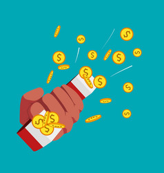 Magnet and golden coins in hand vector