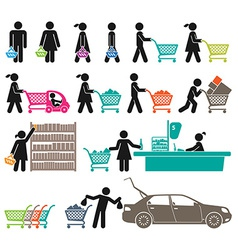 Men and women go shopping vector