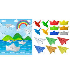 ocean scne and paper origami in different objects vector image vector image