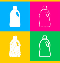 Plastic bottle for cleaning four styles of icon vector