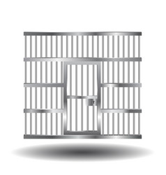 Prison door with bars vector