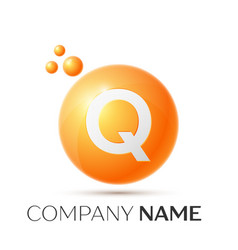 Q letter splash orange dots and circle bubble vector