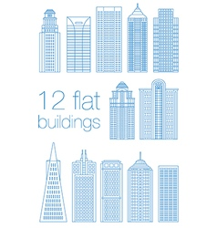 Set flat building city vector image vector image