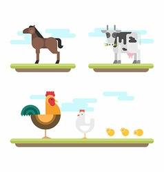 Set of Cute Flat Style Farm Animals Horse Cow vector image vector image