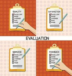 Set of evaluation approve quality check vector