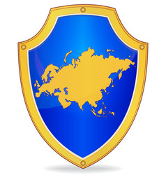 Shield with silhouette of eurasia vector