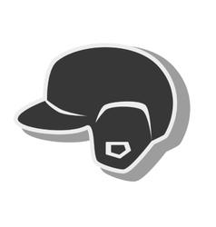 silhouette helmet red baseball isolated vector image